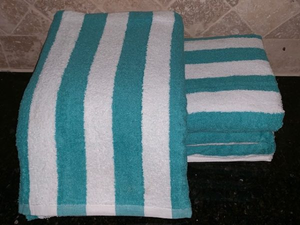 4 Pack Large Beach Resort Pool Towels in Cabana Stripe Blue 30x70 100/% COTTON